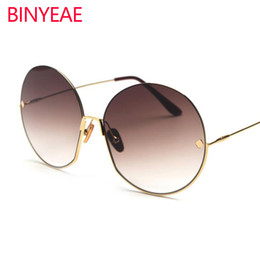 27a9d9238a4 Luxury Brand Vintage Round Sunglasses Women 2018 New Fashion Half Frame  Tinted Color Lens Sun Glasses Female Lady Big Shades