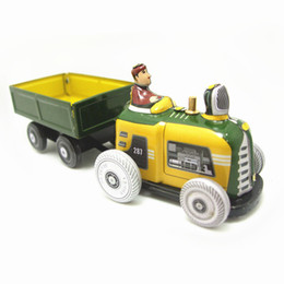 Farm Figures Australia - [TOP] Adult Collection Retro Wind up toy Metal Tin farmer on farm tractor car Mechanical Clockwork toy figures kids baby gift