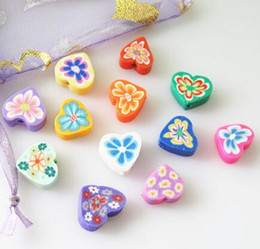 Polymer Fimo Clay Love Heart Spacer Beads 12mm mixed color loose bead Charms For Bracelet Necklace DIY child Jewelry Findings Making Craft on Sale