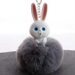 White Gold Rabbit Pendants Australia - New resin rabbit head imitation rabbit hair ball key ring pendant hair ball lady bag car pendant H031