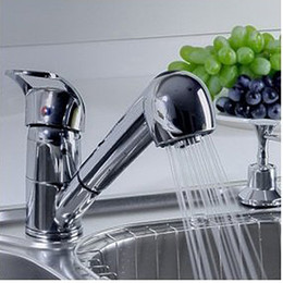 pull out spray kitchen Australia - Freeshipping Single Handle Low Arc Pull Out Kitchen Sink Faucet with Two Spray Model Chrome