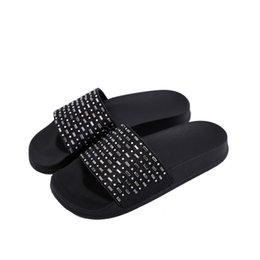 c13d20be1c245 2019 Black New Style Spring And Summer Fashion Wear Flat Slippers Women  Trend Rhinestone Word Female Sandals Flip Flops