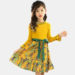 kids winter white dress Australia - Knitted Autumn Winter Floral Pattern Party Dress Kids Teenage Clothes For Girls 6 8 10 12 13 14 MX190724 MX190725