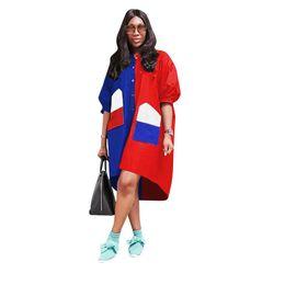 $enCountryForm.capitalKeyWord Australia - Color Block Patchwork Plus Size Dress Women Half Puff Sleeve Round Neck Mini Dress Casual Pockets Buttons Loose Vestidos 3XL NZK-1691