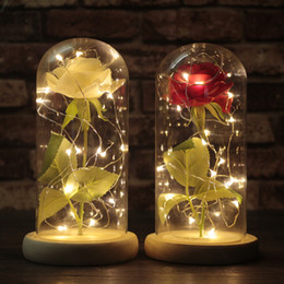 Red White Roses Australia - Moobesid The Little Prince Red Rose In Glass Dome On Wooden Base With Led Light Wedding Gift Party Decoration Y19061103