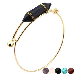 Wholesale 6 colors Bullet Shape Natural Stone charm bracelet Hexagonal Prism Quartz Crystal gems Gold wire chain bangle For women Fashion Jewelry Gift