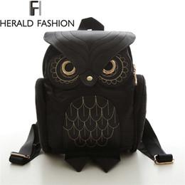 $enCountryForm.capitalKeyWord NZ - Women Backpack 2017 New Stylish Cool Black Pu Leather Owl Backpack Female Shoulder Bag School Bags Herald Fashion Mochila Y19061102