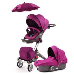 Car Absorber UK - Upgrade High View Baby Stroller Portable Can LieTwo-way Four-wheel Absorber Baby Cart Folding Umbrella Car carriage
