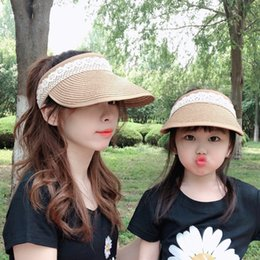 Wholesale white girl braids for sale - Group buy New Parent child Cap Girls Women s Summer Sun Shade Fashion Lace Folding Beach Sun Cap Children Grass Braid Wide Brim Hats S142