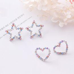 $enCountryForm.capitalKeyWord NZ - Sale Korean Hollow Multicolor Rhinestone Star Love Heart Stud Earrings for Women Cute Girl Ear Jewelry Brinco Gift