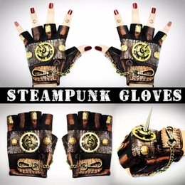 accessories leather gloves Australia - Gear Duke New Steampunk Gear Leather Punk Gloves Vintage Gothic Unisex Cosplay Gloves Medieval Accessory Half Finger