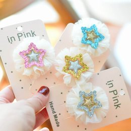 Korean Baby Flowers Australia - Ins lace flower girls hair clips sequin princess baby BB clips star floral kids barrettes Korean designer hair accessories hairclips A6005