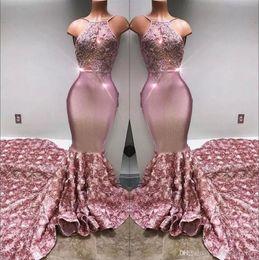 2018 Halter Satin Mermaid Prom Vestidos longos 3d Rose Saia Lace Applique frisada formal do partido vestidos de noite BA7797 venda por atacado