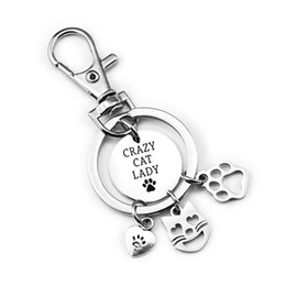 Wholesale crazy love resale online - Stainless Steel Keys Buckle Key Chains Crazy Cat Lady Claw Ring Women Fashion Love Decorative ml UU