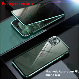 privacy iphone 11 pro Canada - Magnetic Adsorption Flip Privacy phone Case For iPhone 11 Pro XS Max 6 7 8 Plus Xr 360 Tempered Glass Antispy Protective Back Cover