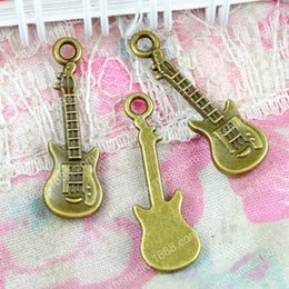 Guitar Traditional Australia - 100pcs 7.9*24MM Antique Bronze musical item guitar charm pendant beads Korean jewelry New, vintage musical instrument charms, music charms
