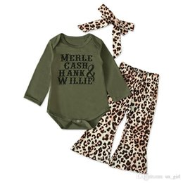 leopard legging baby Australia - Baby Girls Set 2019 New Summer Green Romper Tops + Leopard Printed Wide Leg Pants + headband 3Pcs Suit Baby Kids Clothing Set