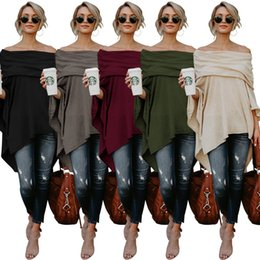 $enCountryForm.capitalKeyWord NZ - Lady sexy T-shirt shirt gown women plus size sexy solid color slash neck batwing sleeve asymmetrical Top Tee S-2XL