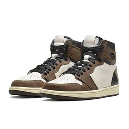 Men Shoes One UK - High Quality Travis Scott logo 1s OG High One Basketball shoes Brown Scott Mens Designer Sneakers 1 Skate Trainers