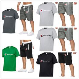 Summer Sportswear Suit Australia - Men Champions Shorts Tracksuit Designer Boys Summer T shirts + Shorts 2 Pieces Set Out Fits Romper Sports Loose Suit Sportswear C52305