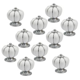ceramic pumpkin handles NZ - AFBC 10Pcs White Round Ceramic Pumpkin Cabinet And Furniture Knobs Pulls Chrome Finished Base Drawer Handles Door Hardware Knob Other Househ