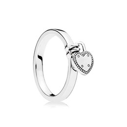Chinese  925 Sterling Silver Love Heart pendant Wedding Rings sets Original Box for Pandora Heart-Shaped Padlock Ring luxury designer jewelry manufacturers