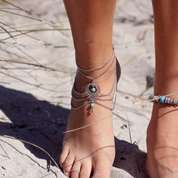 $enCountryForm.capitalKeyWord Australia - Fashion Pearls Water Drop Barefoot Beach Sandals for Weddings Crystals Turquoise Anklets Chain Cheap Toe Ring Bridal Bridesmaid Foot Jewelry