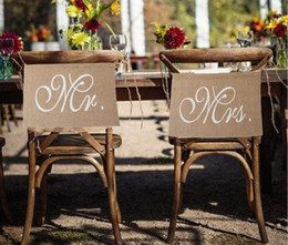 party supplies banners Canada - Mr. & Mrs. Burlap Chair Banner Set Chair Sign Garland Rustic Wedding Party Garland Supply Vintage Bride Rustic Decoration Top Quality