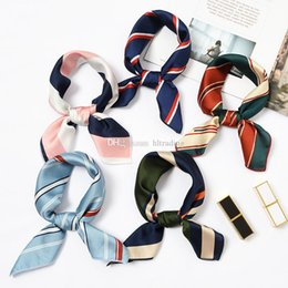 Chinese  New Elegant Women Square Silk Head Neck Satin Scarf Skinny Retro Hair Tie Band Small Fashion Square Scarf 40 colors C6027 manufacturers