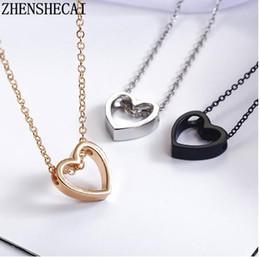 $enCountryForm.capitalKeyWord Australia - Fashion necklace heart design black gold sliver color hollow simple jewelry for women wedding gift 2018 hot new xz3