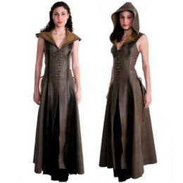 cosplay women s long dresses 2019 - Women Stage Dress Fashion Cosplay Costumes Bandage Hooded Sleeveless Leather Dresses 2XL Women Long Dresses cheap cospla