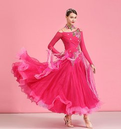 ballroom standard dance dresses Australia - Long Sleeve Ballroom Competition Dance Dress Lady High Quality Elegant Waltz Dancing Skirt Standard Ballroom Dance Dresses Women