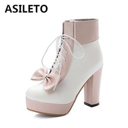 Discount white lolita shoes - ASILETO size 34-43 woman sweet ankle boots autumn winter round toe platform Lolita shoes bowtie candy color botas bottti