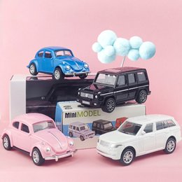 jeep gifts wholesale Canada - JH Mini Diecast Plastic Car Model Toy, Mercedes-Benz, VW Beetle, Jeep Wrangler, Motor Scooter, for Cake Ornament, Xmas Kid Birthday Gift,4-1