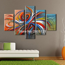 Art Paintings Ideas Australia - hand painted 5 pieces modern abstract oil painting designed abstract line wall art Casual graffiti pictures sets cheap ideas art