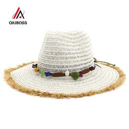 $enCountryForm.capitalKeyWord NZ - QIUBOSS Summer Flat Furry Brim Paper Straw Jazz Hat Cap Women Men Beach Cowboy Hats Breathable Sunhat Unisex Sunshade Hat
