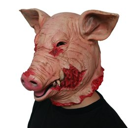 $enCountryForm.capitalKeyWord Australia - Halloween Masks Latex Horror Pig Full Face Mask Overhead Scary Pig Head Funny Party Mask Festival Cosplay Costume Halloween Party Supplies
