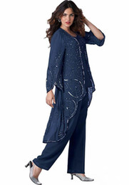 $enCountryForm.capitalKeyWord Australia - 2019 Plus Size 3 Pieces Mother Of The Bride Pants Suits Sequins Long Sleeves Chiffon Mother Dresses with Jacket Formal Dress