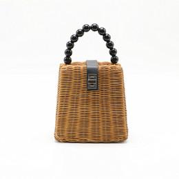 Discount handmade lady bags - New small box Straw bags for women 2018 Handbags Female Ladies Summer hot Rattan Bag Handmade Woven Beach Bohemia Handba