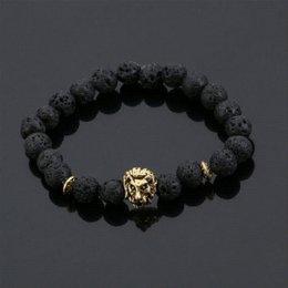 $enCountryForm.capitalKeyWord Australia - Fashion Jewelry Gold Buddha Leo Lion Head Bracelet Black Lava Stone Beaded Bracelets Pulseras Hombre For Men Women