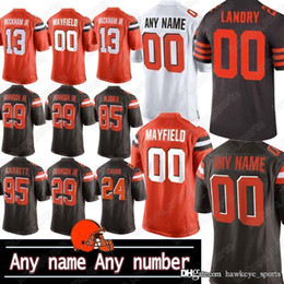 Wholesale high quality custom shirts for sale – custom Cleveland custom Brown jerseys Baker Mayfield Tyrod Taylor Jarvis Landry High Quality American Football Clothes men shirts