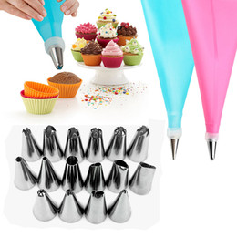 silicone nozzle NZ - 18 PCS Set Silicone Pastry Bag Nozzles Tips DIY Icing Piping Cream Reusable Pastry Bags +16 Nozzle Set Cake Decorating Tools