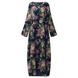 $enCountryForm.capitalKeyWord UK - 2019 Zanzea Women Chinese Style Autumn Long Sleeve Vintage Floral Print Cotton Party Long Maxi Dress Baggy Kaftan Vestido L-5xl Y19051001