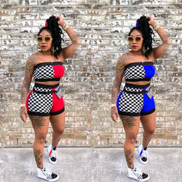 $enCountryForm.capitalKeyWord Canada - Fashion Women Shorts Tracksuit Patchwork Strapless Vest Crop Tube Top + Shorts 2 Piece Set Summer Bra Short Pants Outfits With Belt Suit