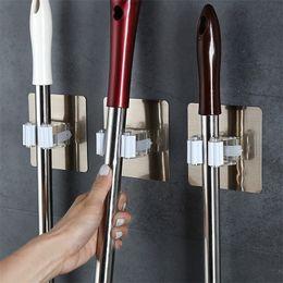 wall mount mop 2019 - Wall Mounted Mop Holder Broom Storage Rack Kitchen Clip Seamless Brush Hanger Organizer Holder Mop Oraganizer
