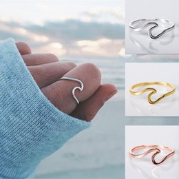 New weddiNg riNg for aNNiversary online shopping - Wave Ring New Fashion Silver Simple Thin Alloy Cute Ring Beach Sea Surfer Island Jewelry Finger Rings for women