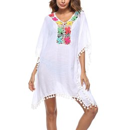 crochet swim cover ups NZ - Hot Women Sexy Colored Tassel See-Through Crochet Tunic Beach Cover Up Swimwear Summer Bikini Swim Dress DO2