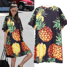 $enCountryForm.capitalKeyWord Australia - Style Korean Summer Women Pineapple Printing Casual Beach Dress Black Pink Sundress Short Sleeve Cute Midi Sun Dress 2163 designer clothes