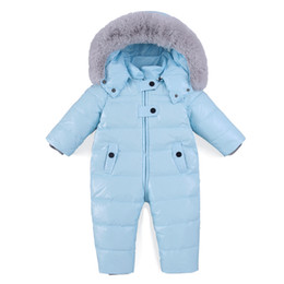 Discount down ski suit - Baby Romper Winter Girl Boy Snowsuit Thermal Duck Down Fur Hooded Jumpsuit Newborn Kids Winter Climb Clothes Ski Suit Ov