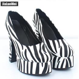 34ac91eeef 2019 New Sexy British Style High heels 12CM High Thick Heel Zebra Print  Women Platform Pumps Plus Size lolita anime Shoes Man 36-46